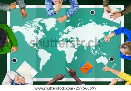 World Global Business Cartography Globalization International Concept #259668599