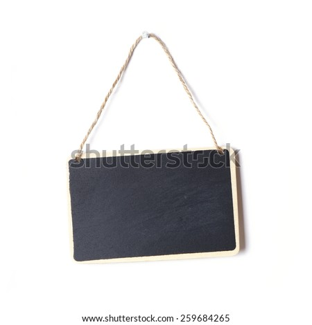 small blank chalkboard sign with piece of string hanging on nail