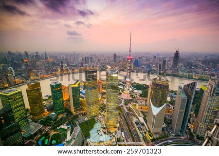 Shanghai, China cityscape overlooking the Financial District and Huangpu River. #259701323