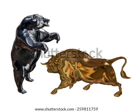 Bull and Bear posed for battle. #259811759