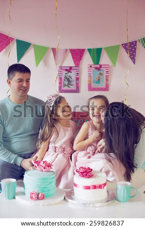 Family celebrating birthday princess party of two 6 years old children #259826837