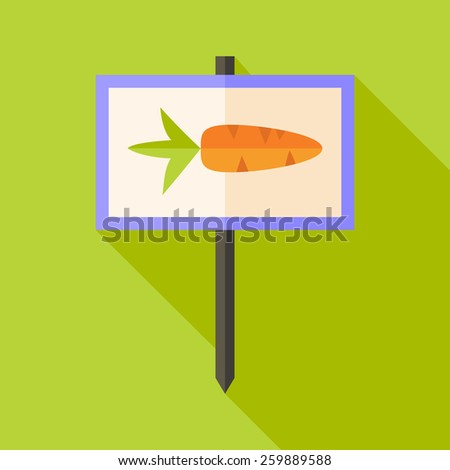 Garden sign with carrot. Flat stylized illustration with shadow