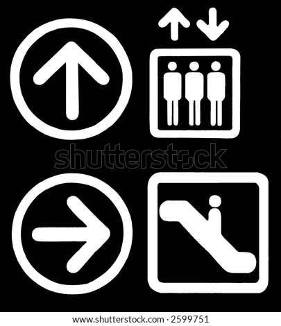Directions Signs - Elevator, Escalator, Arrows - White On Black, Isolated, Illustration, Clipart, Background