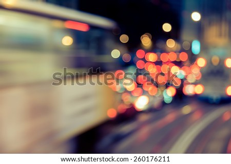 Abstract background of bokeh light at city night with vintage color tone tuned  #260176211