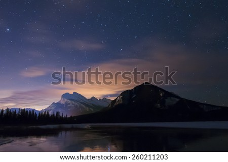 Night scenery Mount Rundle and Vermilion Lakes Banff National Park Alberta Canada #260211203