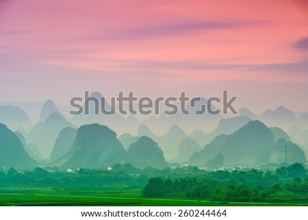 Guilin, China karst mountain landscape. #260244464