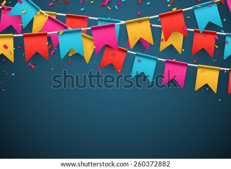 Celebrate banner. Party flags with confetti. Vector illustration.  Royalty-Free Stock Photo #260372882
