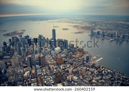 New York City Manhattan downtown aerial view #260402159