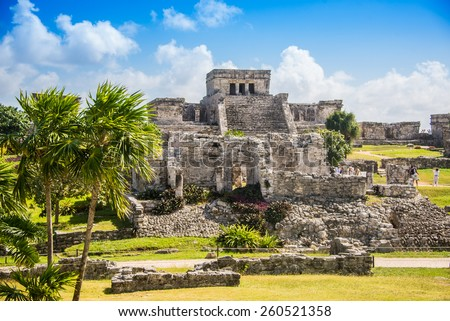 Mayan Ruins Besides Caribbean Sea. Riviera Maya, Traveling America. Royalty-Free Stock Photo #260521358