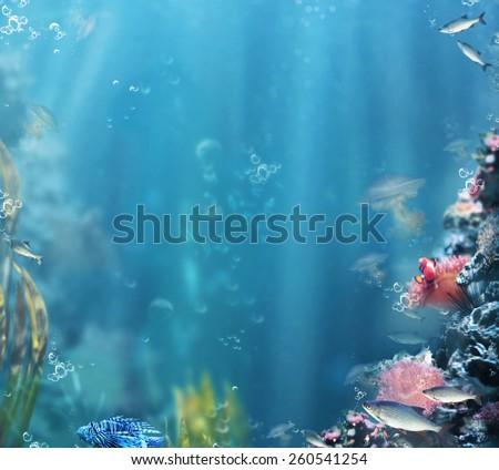 Marine. Sea Life. Aquarium with Fishes and Corals