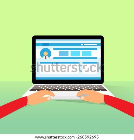 laptop hands type working using computer flat vector illustration