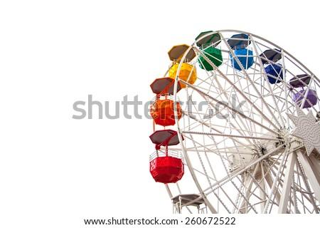 Ferris wheel on white Royalty-Free Stock Photo #260672522