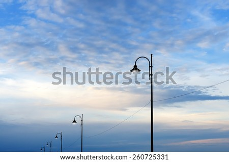 street lamps in the evening #260725331