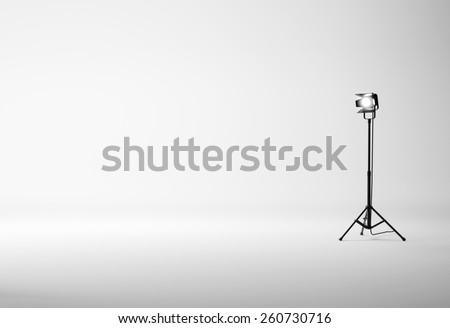 White studio with spotlight