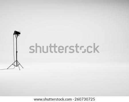 White studio with lights