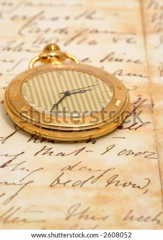 very old pocket watch in a vintage romantic letter #2608052