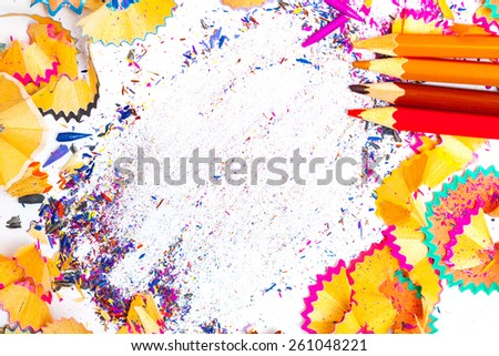 colored pencil shavings with copy-space. close up