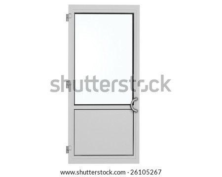 one frame metal-plastic door isolated on white #26105267
