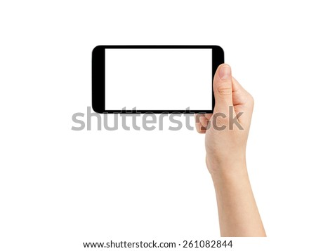 female teen hand taking photo with generic smartphone, isolated