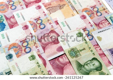 China,Macao and hong kong money bills background #261125267