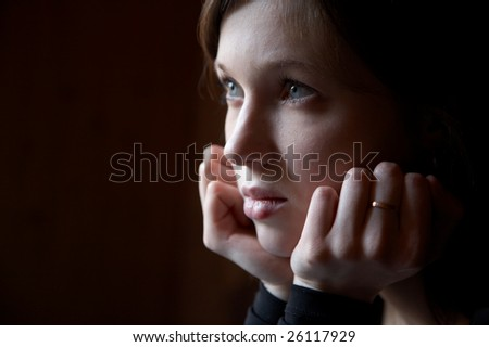 Portrait of the girl in a dark tonality on a dark background #26117929