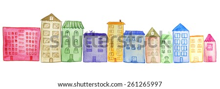 Original watercolor painted houses in Amsterdam architecture style. Colorful houses isolated on white. Can be used as clip art elements for wallpaper and print design. Raster illustration.