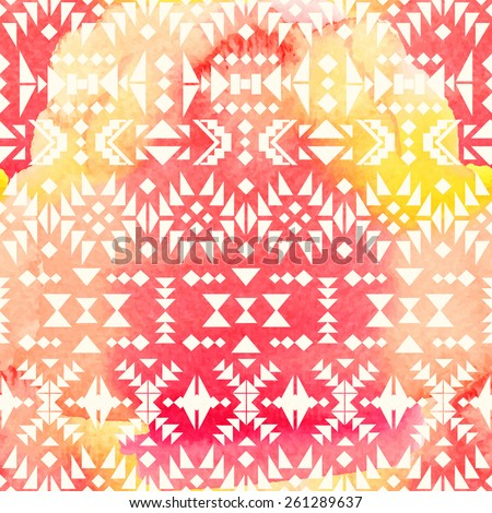 Seamless ethnic pattern on watercolor background. Vector illustration.