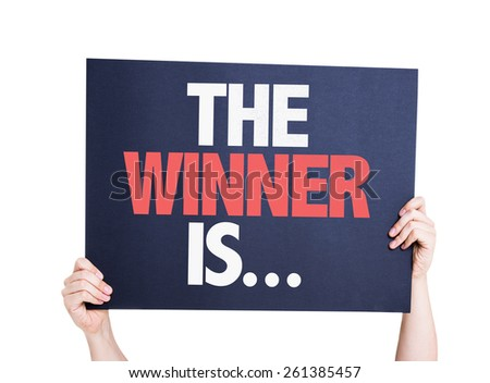 The Winner Is... card isolated on white Royalty-Free Stock Photo #261385457