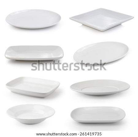 white plate on a white background Royalty-Free Stock Photo #261419735