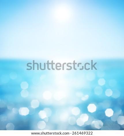 Lights on sea background.Waves.