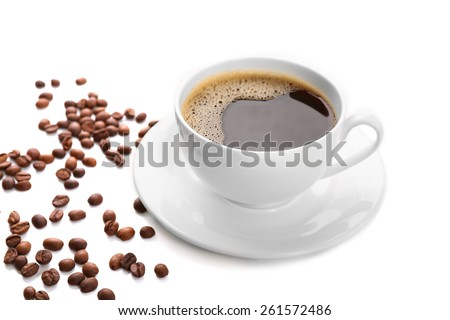 Cup of coffee isolated on white #261572486