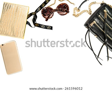 Fashion mock up with business lady accessories and mobile phone. Feminine objects over white background. Online shop desktop