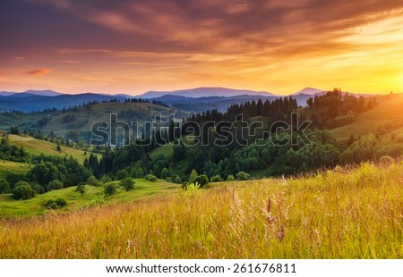 Beautiful green hills glowing by sunlight at twilight. Dramatic scene. Colorful sky, yellow clouds. Carpathian, Ukraine, Europe. Beauty world. #261676811