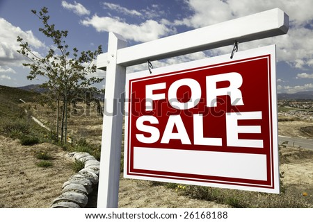 For Sale Real Estate Sign and Empty Construction Lots - Ready for your own message. #26168188