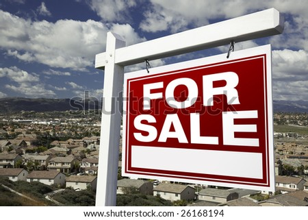 For Sale Real Estate Sign with Elevated Housing Community View - Ready for your own message. #26168194