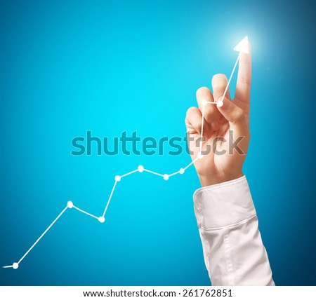 Investment concept,businessman with financial symbols coming from hand  #261762851