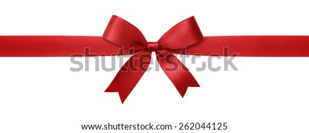 red ribbon with bow isolated on white background #262044125