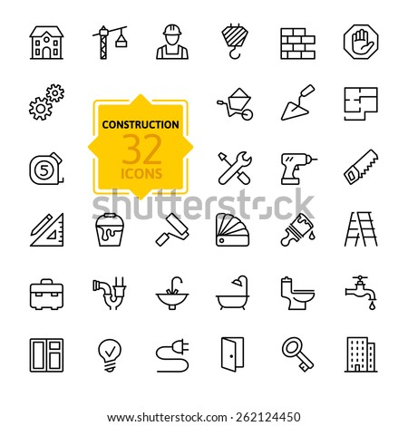 Outline web icons set - building, construction and home repair tools  Royalty-Free Stock Photo #262124450