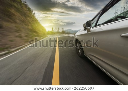 Car driving on the highway sky #262250597