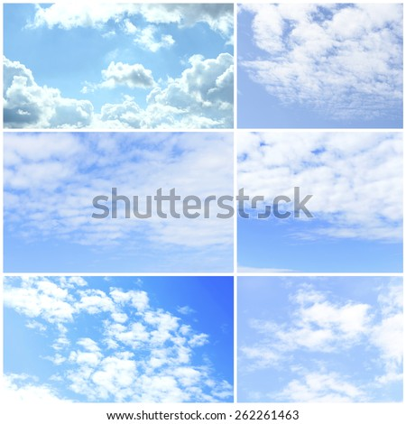 Collage of beautiful sky with clouds #262261463