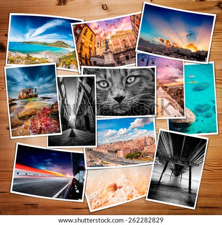 Composite collage of various printed photos - these are all photos made by me, that you separately can find on my shutterstock portfolio.