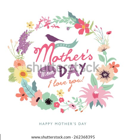 Happy Mother's Day. Greeting card with beautiful floral wreath. #262368395