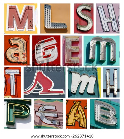collection of vintage neon letters