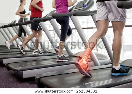 Digital composite of Highlighted ankle of man on treadmill #262384532
