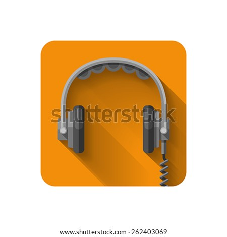 Headphones flat icon.Vector illustration, easy editable. #262403069