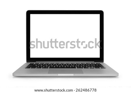 Laptop with space for your message isolated on white background #262486778