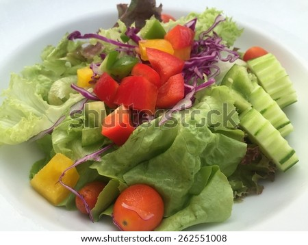 vegetable salad on white plate #262551008