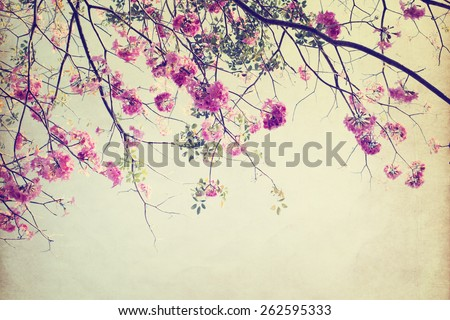 vintage nature background of  tree flower in summer ,paper art texture