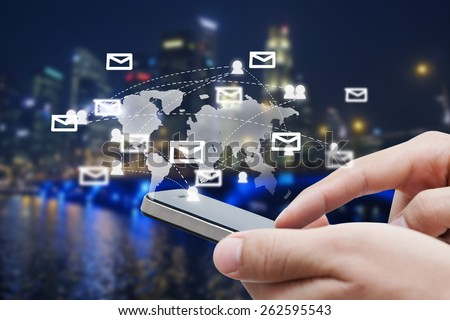 close-up of man hand with smart phone show social network,network and communication concept #262595543