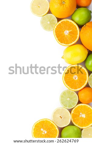 Citrus fruits. Oranges, limes and lemons. Isolated on white background with copy space #262624769